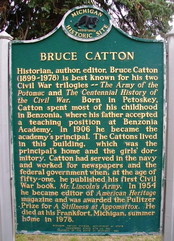 Bruce Catton Marker (Side A) image. Click for full size.