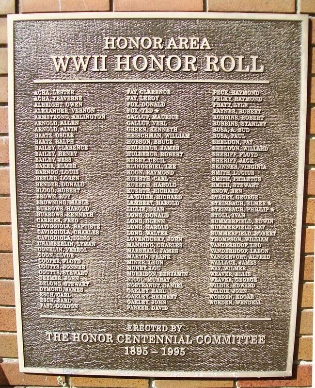 Honor Area WWII Honor Roll Marker image. Click for full size.