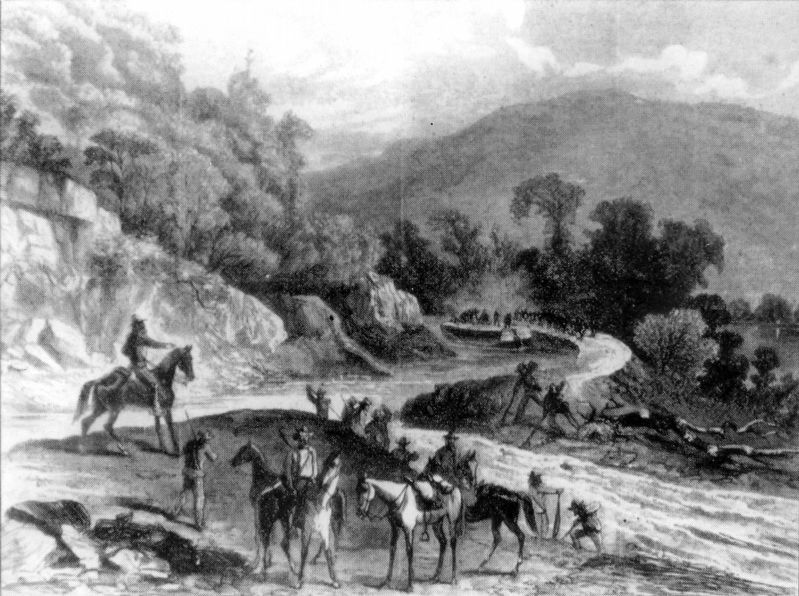 Cavalrymen cutting the C&O Canal banks to drain the water image. Click for full size.