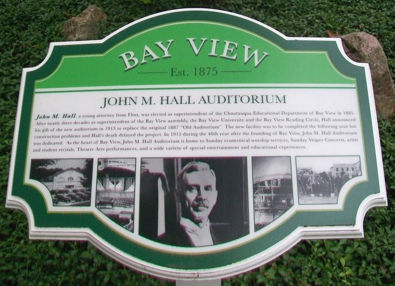 John M. Hall Auditorium Marker image. Click for full size.