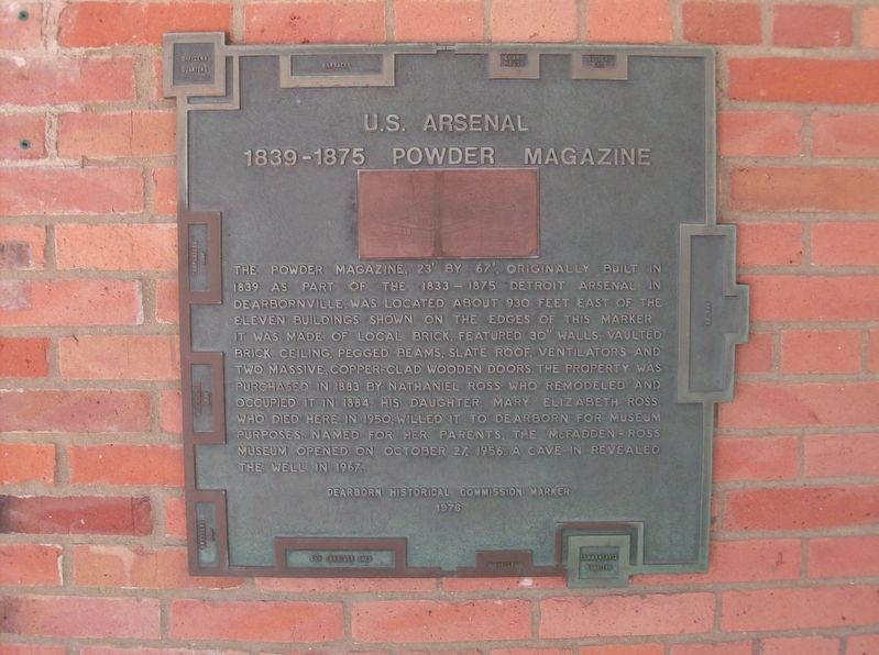U.S. Arsenal 1839-1875 Powder Magazine Marker image. Click for full size.