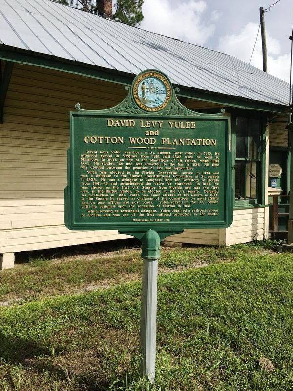 David Levy Yulee and Cotton Wood Plantation Marker image. Click for full size.