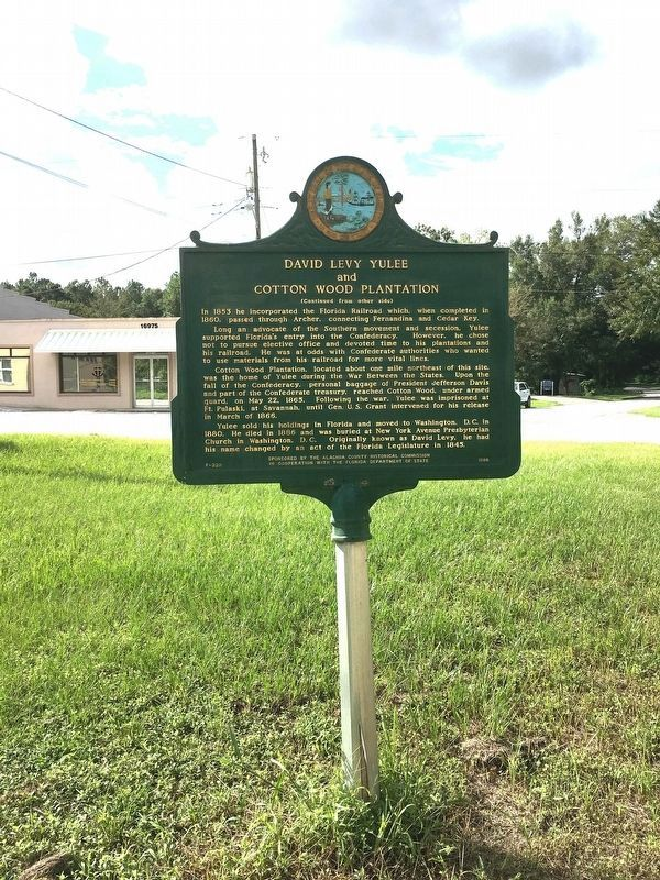 David Levy Yulee and Cotton Wood Plantation Marker Side 2 image. Click for full size.