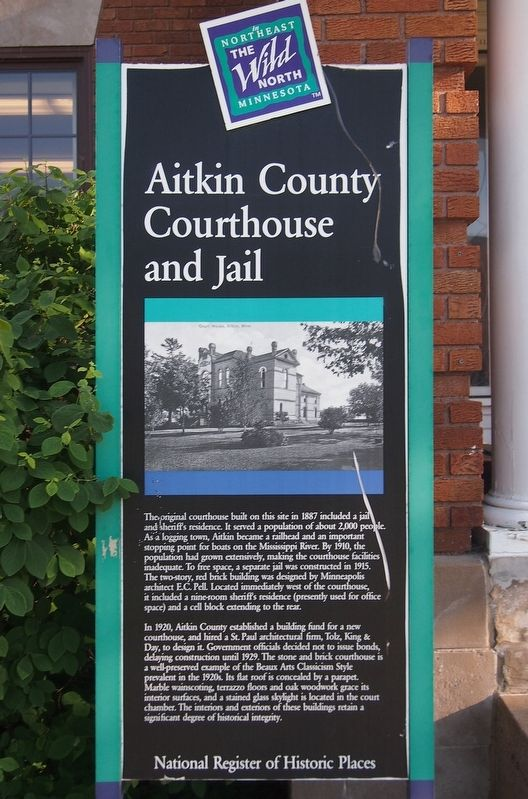 Aitkin County Courthouse and Jail Marker image. Click for full size.