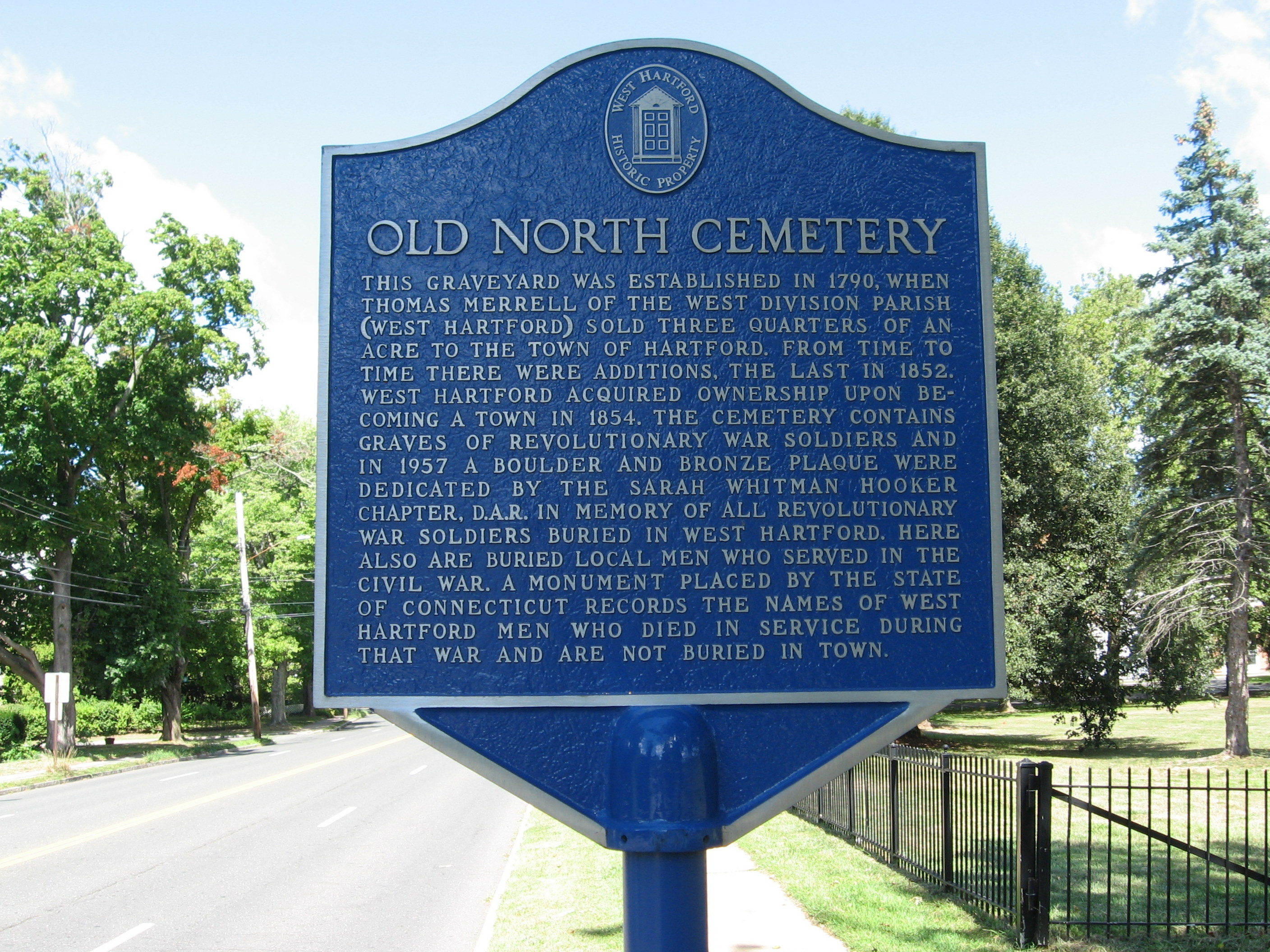 Old North Cemetery Marker