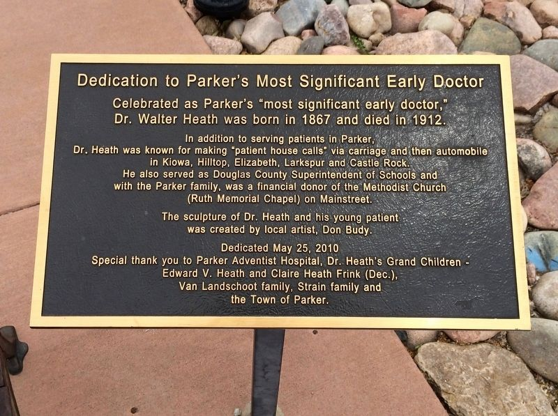Dedication to Parker's Most Significant Early Doctor Marker image. Click for full size.