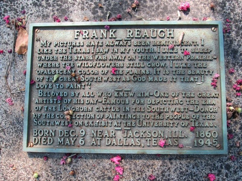 Frank Reaugh Plaque on Grave image. Click for full size.