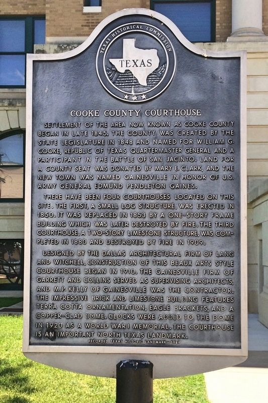 Cooke County Courthouse Marker image. Click for full size.