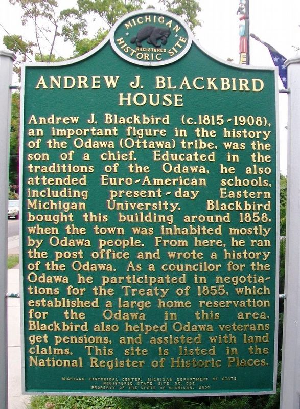 Andrew J. Blackbird House Marker (Side A) image. Click for full size.