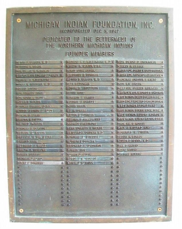 Michigan Indian Foundation Founders Marker on Blackbird House image. Click for full size.
