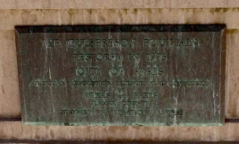 Culbertson Fountain plaque. image. Click for full size.
