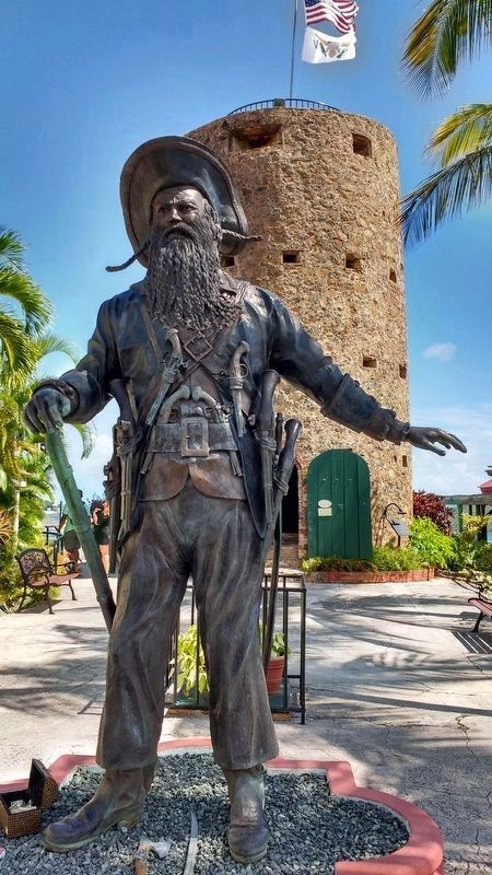 Statue of Blackbeard with Blackbeard's Castle in background image. Click for full size.