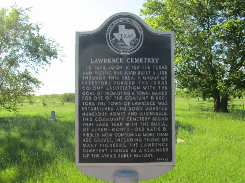 Lawrence Cemetery Marker image. Click for full size.