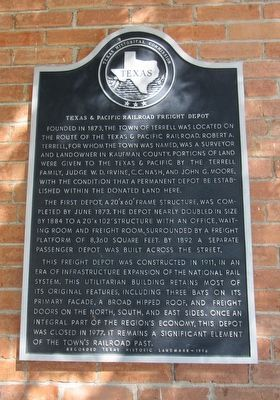 Texas & Pacific Railroad Freight Depot Marker image. Click for full size.