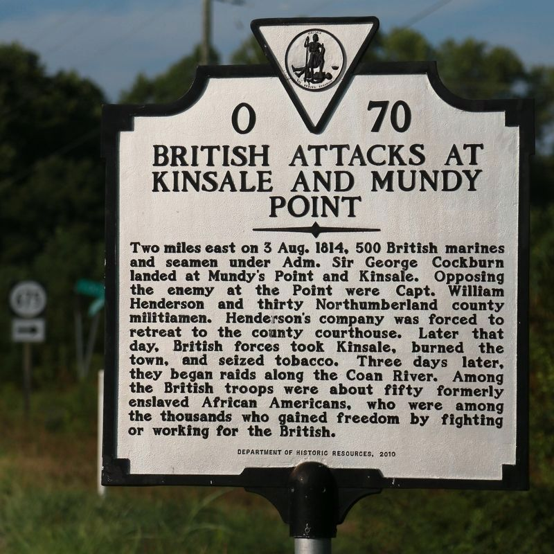 British Attacks at Kinsale and Muddy Point Face of Marker image. Click for full size.