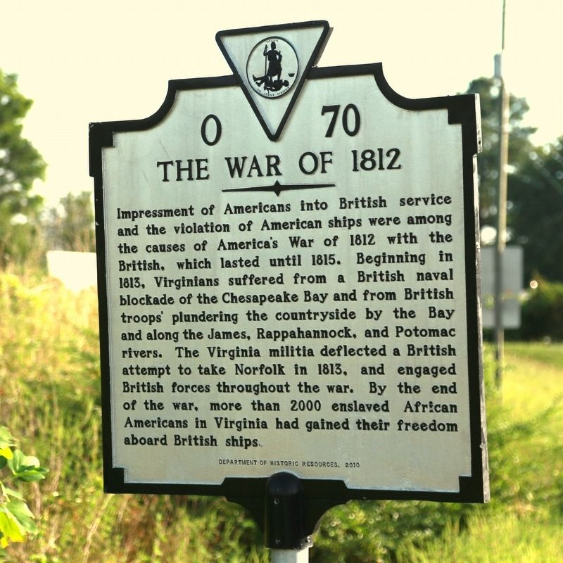 The War of 1812 Face of Marker image. Click for full size.