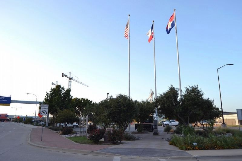 Memorial at Center of Danny L. Bruce Flag Plaza image. Click for full size.