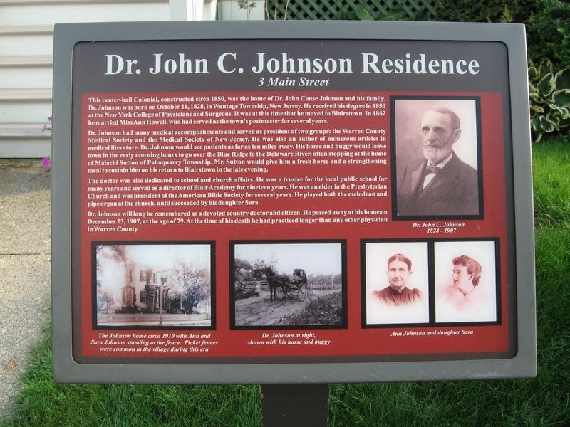 Dr. John C. Johnson Residence Marker image. Click for full size.
