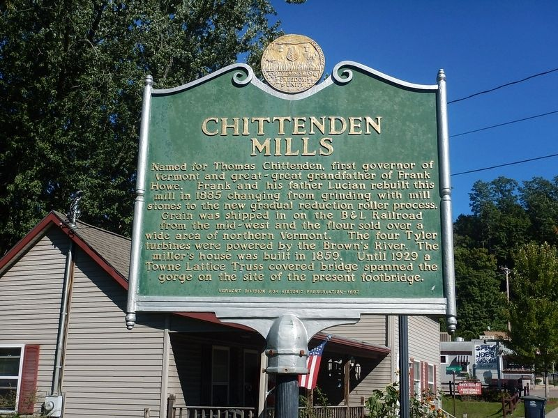Chittenden Mills Marker image. Click for full size.