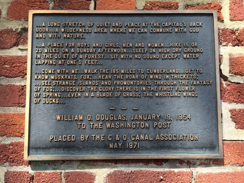 A nearby marker, with quote from William O. Douglas image. Click for full size.
