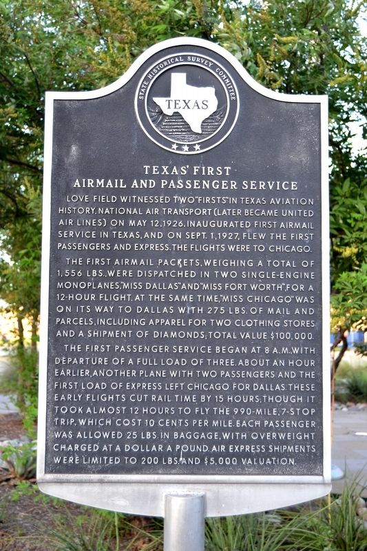 Texas' First Airmail and Passenger Service Marker image. Click for full size.