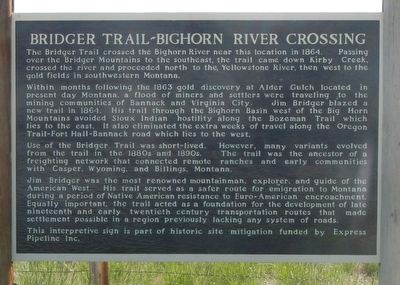 Bridger Trail - Bighorn River Crossing Marker image. Click for full size.