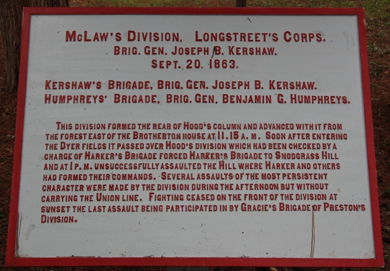 McLaw's Division Marker image. Click for full size.