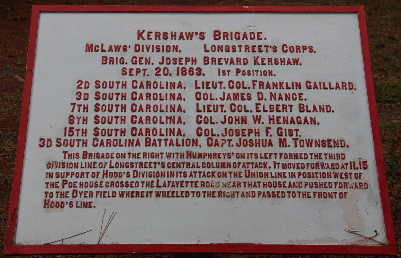 Kershaw's Brigade Marker image. Click for full size.