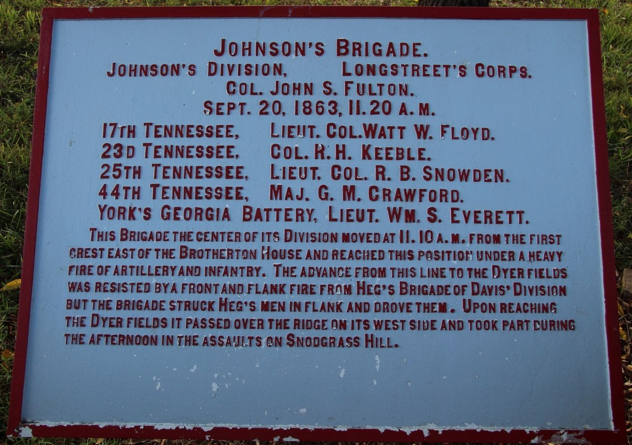 Johnson's Brigade Marker image. Click for full size.