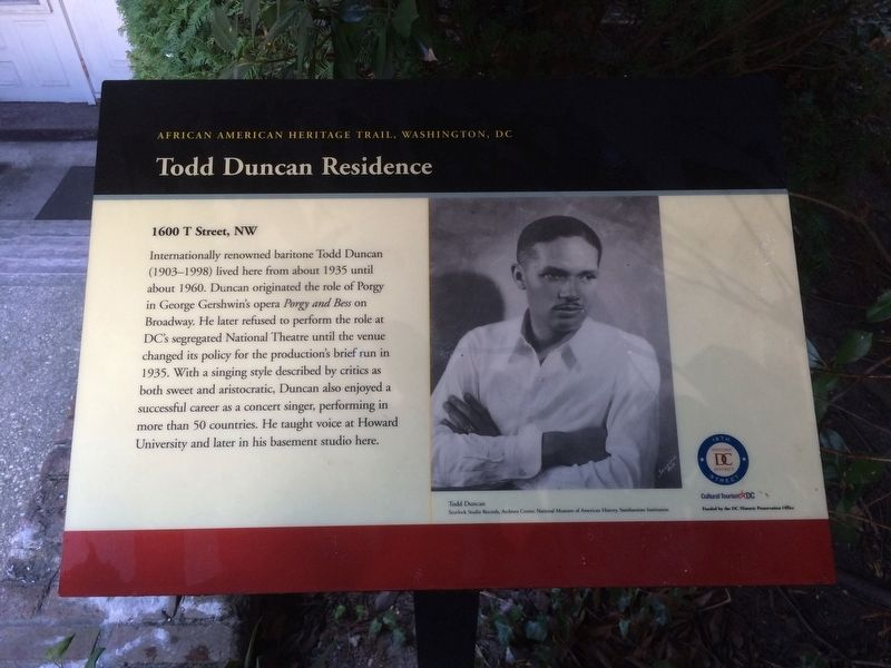 Todd Duncan Residence Marker image. Click for full size.