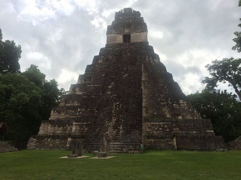 The Temple of the Great Jaguar, directly in front of Temple II. image. Click for full size.