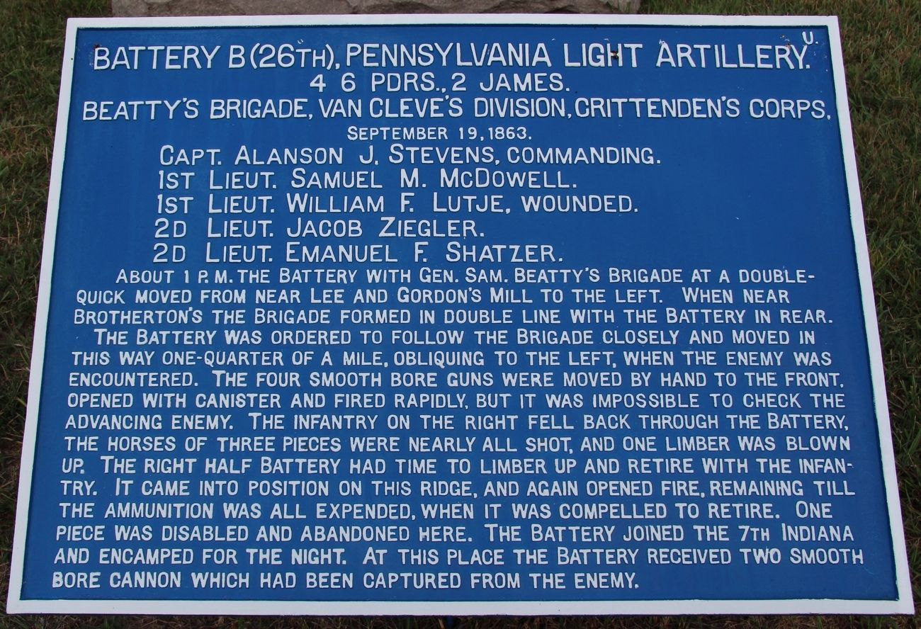 Battery B, 26th Pennsylvania Marker image. Click for full size.