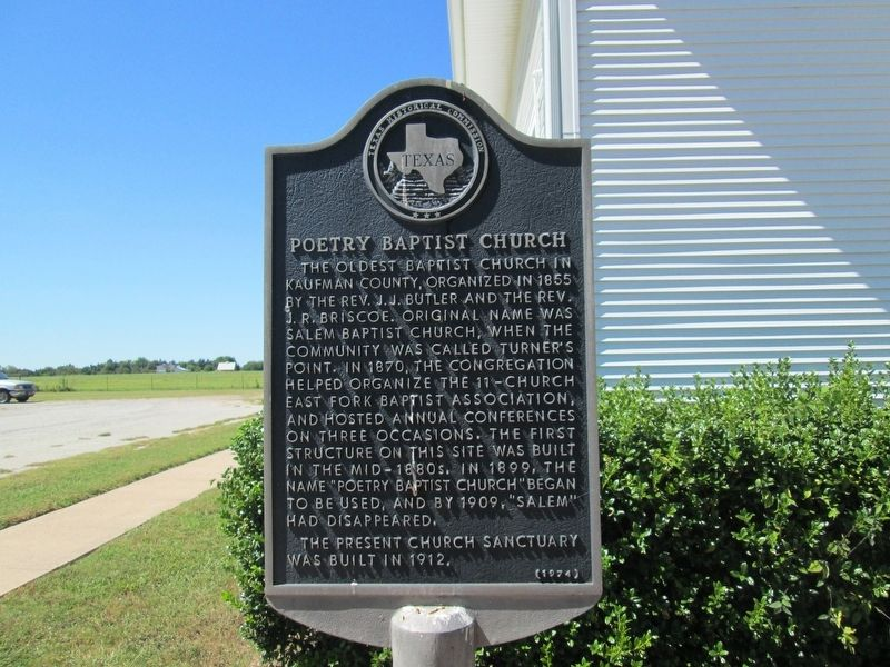 Poetry Baptist Church Marker image. Click for full size.