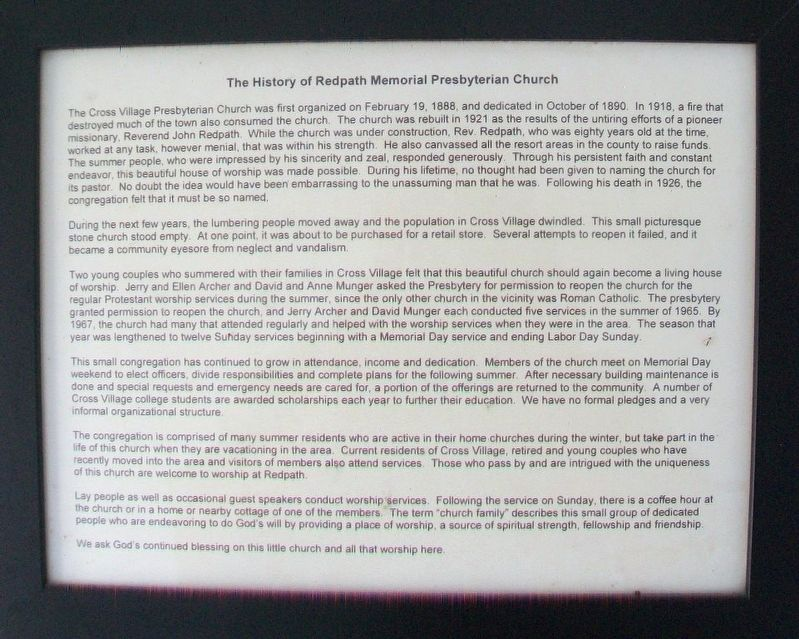The History of Redpath Memorial Presbyterian Church Marker image. Click for full size.