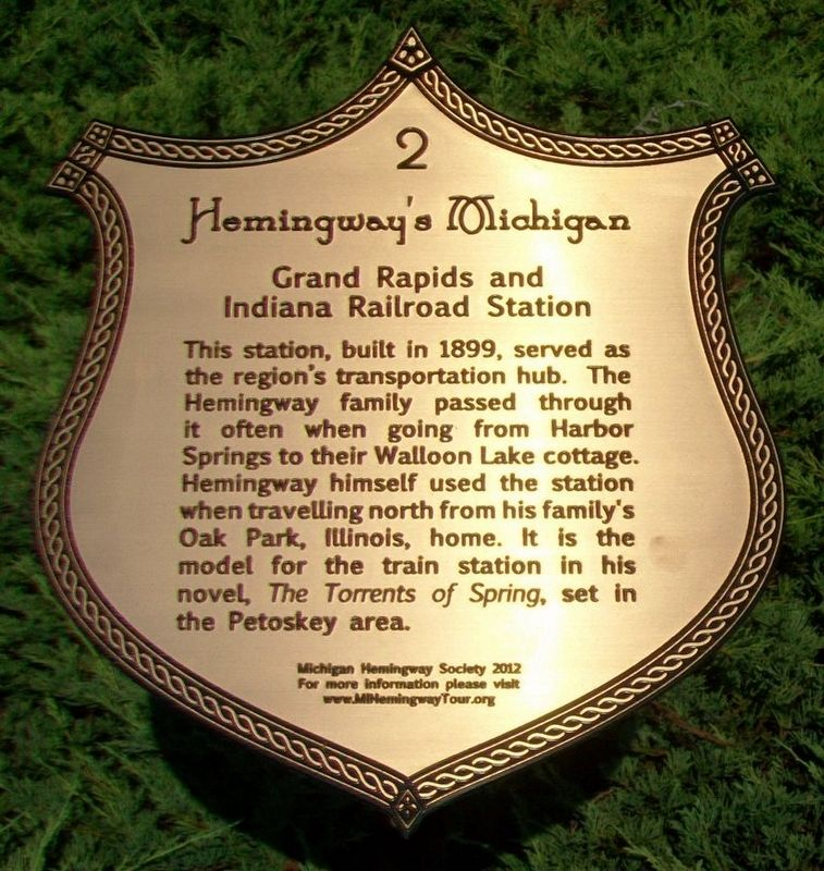 Grand Rapids and Indiana Railroad Station Marker image. Click for full size.
