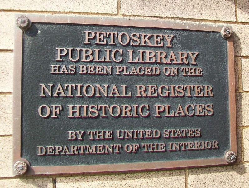 Petoskey Public Library NRHP Marker image. Click for full size.
