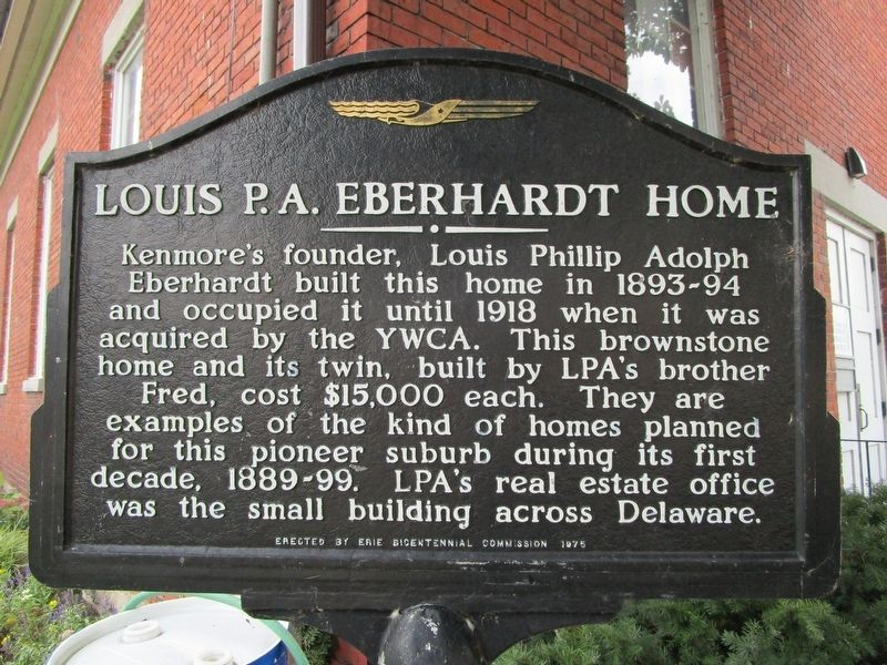 Louis P.A. Eberhardt Home Marker image. Click for full size.