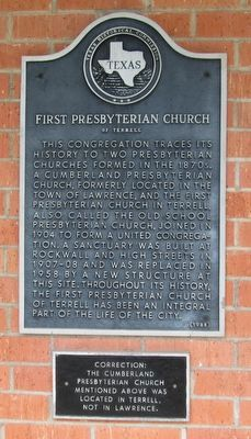 First Presbyterian Church of Terrell Marker image. Click for full size.