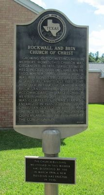 Rockwall and Brin Church of Christ Marker image. Click for full size.