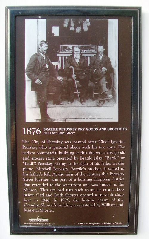 Brazile Petoskey Dry Goods and Groceries Marker image. Click for full size.