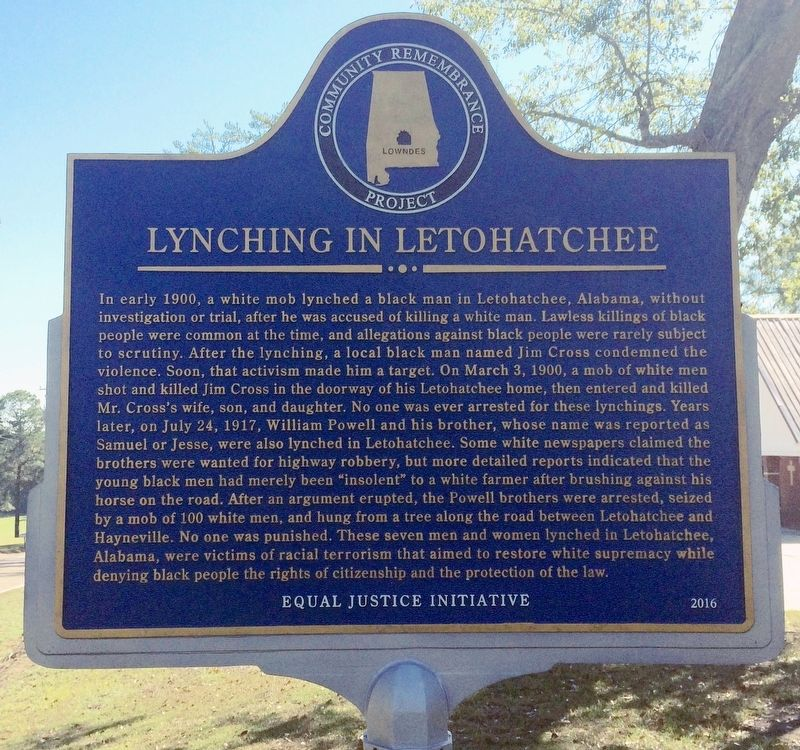 Lynching in Letohatchee Marker (Side 2) image. Click for full size.