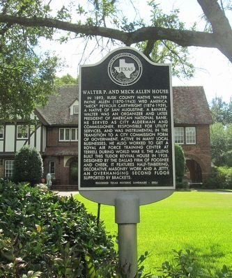 Walter P. and Meck Allen House Marker image. Click for full size.