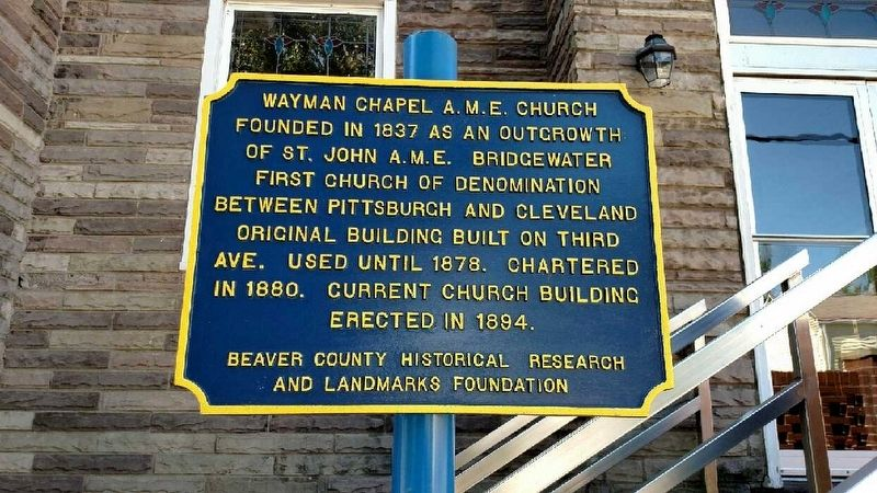 Wayman Chapel A.M.E. Church Marker image. Click for full size.