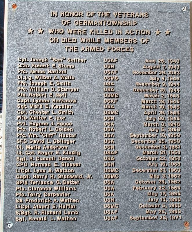 Germantown Veterans Memorial Marker image. Click for full size.