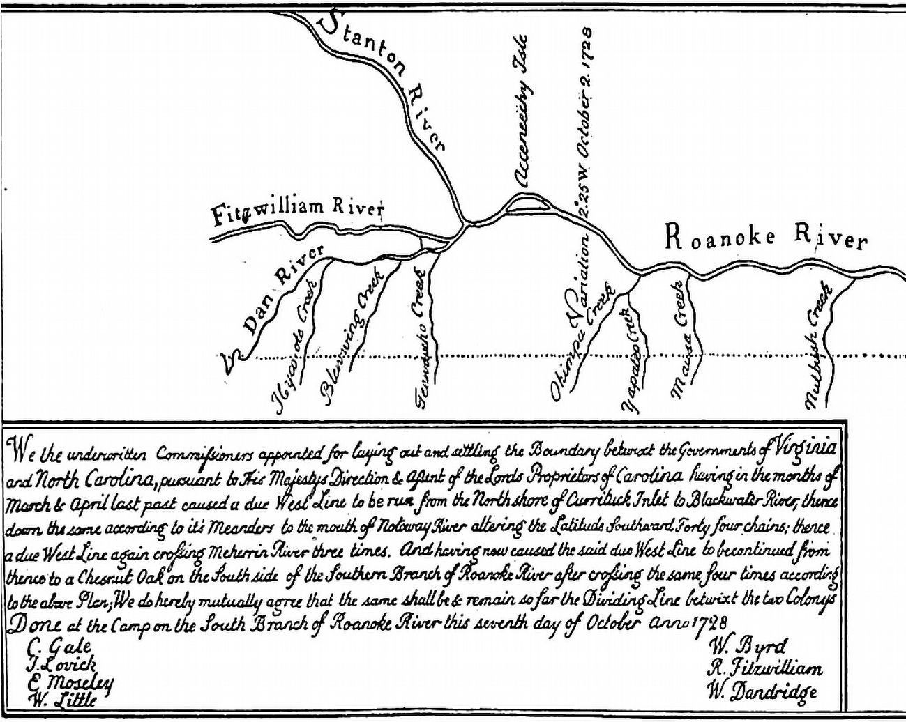 West End of the 1728 Survey of the Boundary Line between Virginia and North Carolina image. Click for full size.