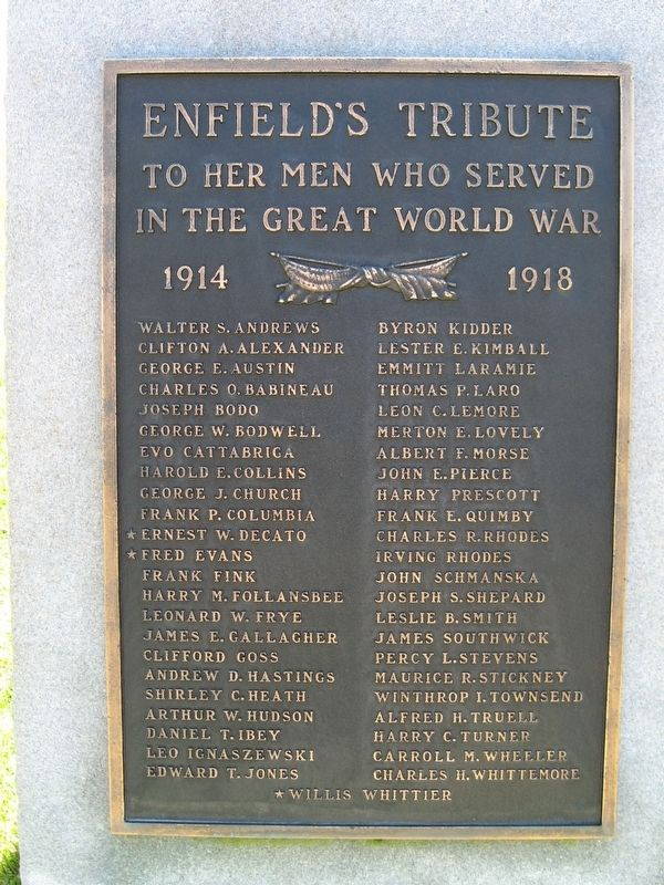 Enfield World War I Monument image. Click for full size.