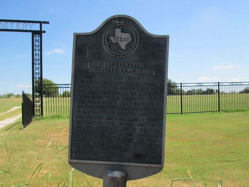 Terrell State Hospital Cemetery Marker image. Click for full size.