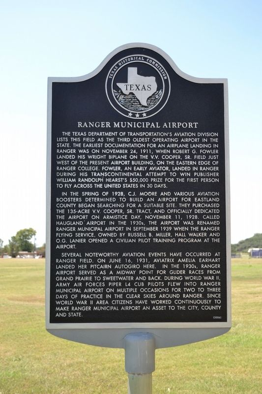 Ranger Municipal Airport Marker image. Click for full size.