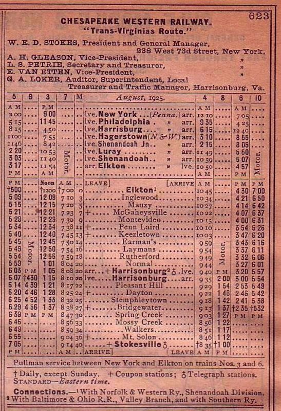 December 1925 Timetable for the Chesapeake Western Railway image. Click for full size.