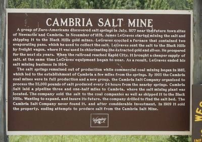 Cambria Salt Mine Marker image. Click for full size.
